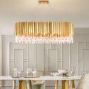 Golden Modern Glass Pendant Light Oval Shaped Ceiling Light Living Room Kitchen Island 2253