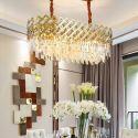 Golden Modern Glass Pendant Light Oval Shaped Ceiling Light Living Room Kitchen Island 2218