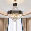 Nordic Stainless Steel Pendant Light Circular Glass Chandelier Bedroom Living Room 2221
