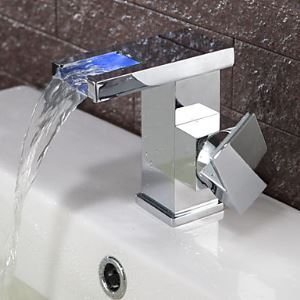 Contemporary Color Changing LED Waterfall Bathroom Sink Faucet (Chrome Finish)