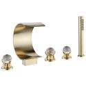 Golden Brass Split Bathtub Faucet Curved Waterfall Spout Tub Filler with Handheld Sprayer