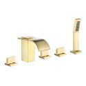 Brushed Gold Brass Bathtub Faucet Waterfall Curve Spout with Handheld Sprayer Faucet Set