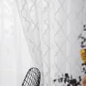 White Geometric Lace Sheer Curtains Panel Living Room Bedroom (One Panel)