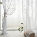 European Style Sheer Curtain Panel Lace Rose & Mirror Voile Curtain Balcony Bay Window (One Panel)