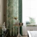 British Rural Style Printed Curtain Semi Blackout Cotton Linen Two Tone Curtain Idea Kitchen Bedroom (One Panel)
