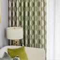 Rural Style Cotton Linen Curtain Semi Blackout Green Leaf Printed Curtain Bedroom Living Room (One Panel)