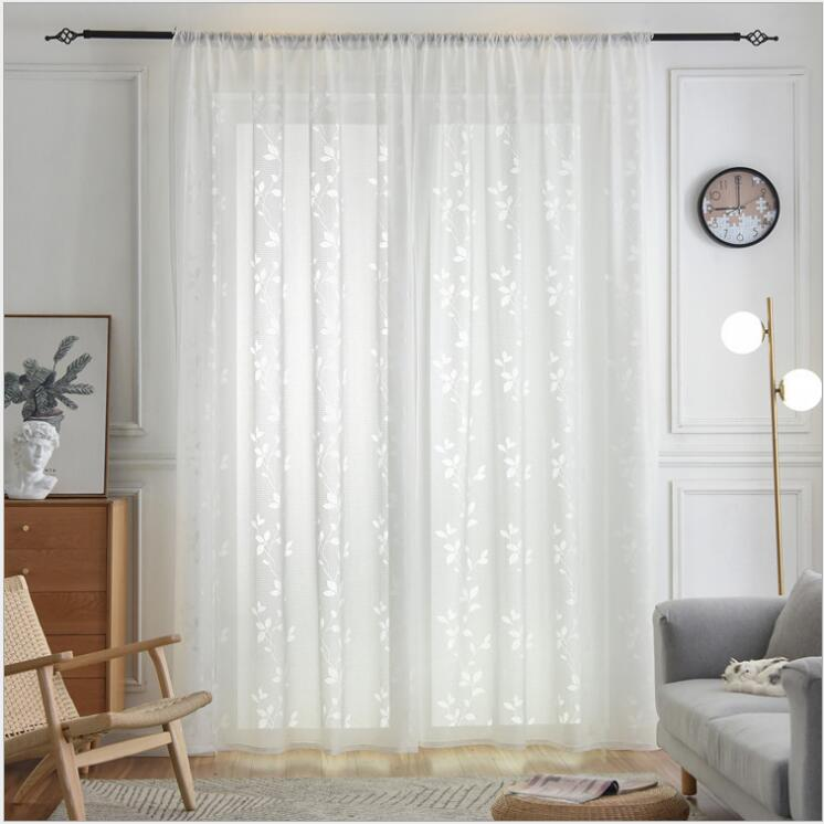 White Hollow Leaf Sheer Curtain Lace, Sheer Curtains For Living Room