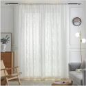 White Hollow Leaf Sheer Curtain Lace Voile Curtain Living Room Bay Window (One Panel)