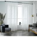 Modern Voile Sheer Curtain Panel Lace Leaf Grained Curtain Living Room Bedroom (One Panel)
