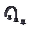 Square Brass Basin Mixer Tap Split Dual Handles Countertop Faucet Black/Chrome Color Available
