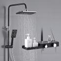 Modern Black Shower Faucet Set Brass Bathroom Shower System with Storage Shelf