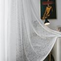 White Lace Sheer Voile Curtain Panel Bay Window Living Room (One Panel)