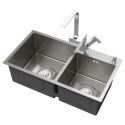 Double Bowl Stainless Steel Sink for Kitchen Handmade Thicken Nano 201