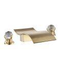 Waterfall Brass Basin Tap Split Curved Bathroom Sink Faucet