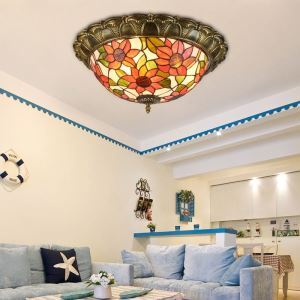 Stained Glass Dome Flush Mount Ceiling Light Flower Pattern Decorative Lamp Living Room Dining Room XD3102