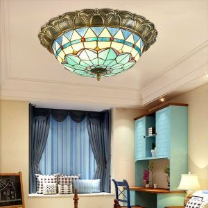 Stained Glass Flush Mount Antique Style Decorative Ceiling Lamp Living Room Dining Room XD3104