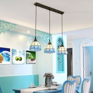 Blue White Glass Pendant Light Stained Glass Cluster Lamp Living Room Kitchen Idea DD4021