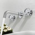 Industrial Style Basin Mixer Tap Wall Mounted Brass Bathroom Sink Faucet