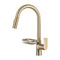 Brass Pull-Out Kitchen Faucet Swivel Spout Tap with Drain Rack