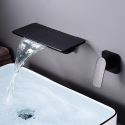 Waterfall Wall Mounted Basin Tap Brass Flat Faucet Black/White Color Optional