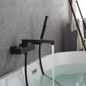 Black Thermostatic Bathtub Faucet Wall Mounted Brass Tub Tap