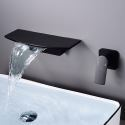 Waterfall Wall Mounted Basin Tap Brass Curved Faucet Spout Black/White Color Optional