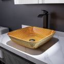 Diamond Shaped Crystal Glass Wash Basin Modern Square Washroom Countertop Sink