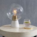 Creative Decoration Table Lamp Marble Base Glass Lampshade Bedroom Bedside Desk Lamp A206