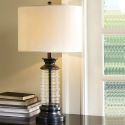 American Glass Table Lamp Fabric Lampshade Desk Lamp Bedroom Study A161