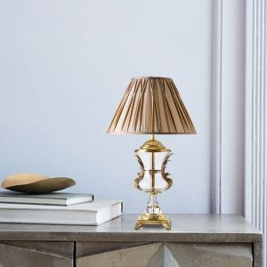 Crystal Table Lamp Fabric Lamp Shade Bedroom Study Desk Reading Light A176