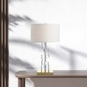 Modern Glass Table Lamp Stacked Glass Cubes Fabric Lampshade Bedroom Study Desk Reading Light A222