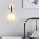 Nordic Brass Wall Lamp Glass Lampshade Round Sconce Light Bedroom Living Room B2228
