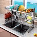 Kitchen Sink Dishes Drying Rack Stainless Steel Multifunctional Storage Rack 2 Layers