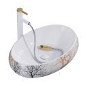 Oval Bathroom Ceramic Wash Basin Forest Deer Bathroom Sink