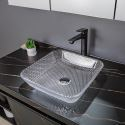 Transparent Square Glass Wash Basin Modern Countertop Bathroom Sink