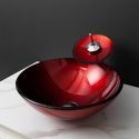 Red Round Bathroom Tempered Glass Vessel Sink With Waterfall Faucet
