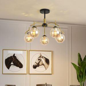 Simple LED Chandelier Glass Globe Ceiling Light Living Room Bedroom 1917