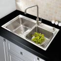 Double Bowl Stainless Steel Kitchen Sink Top Mount MOR6939M Silver (Faucet Not Included)