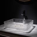 Rectangular Transparent Glass Wash Basin Bathroom Vessel Sink
