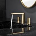 Golden Brass Basin Mixer Tap Deck Mounted Dual Handles Bathroom Countertop Faucet