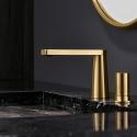 Golden Brass Basin Mixer Tap Deck Mounted Bathroom Countertop Faucet
