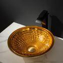 Circular Golden Glass Wash Basin Bathroom Vessel Sink