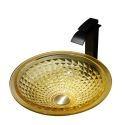 Round Yellow Glass Wash Basin Bathroom Counter Basin