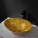 Oval Golden Glass Wash Basin Bathroom Counter Basin
