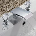 Contemporary Solid Brass Two Handle Waterfall Bathroom Sink Faucet-Chrome Finish