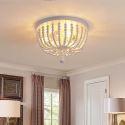 Simple Wood Beaded Flush Mount Ceiling Light 3 Lamps SR981053