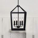 4 Lamp Black Pendant Light Modern Simple Wrought Iron Lighting QM41454
