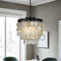 Wrought Iron Black Pendant Light Decorative Shell Lighting 3-Light QMBK21013