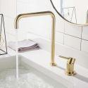 Minimalist Brushed Gold Basin Faucet Bathroom Single Handle Mixer Tap