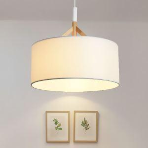 Single Lamp Wood Pendant Light Fabric Lampshade CH3126